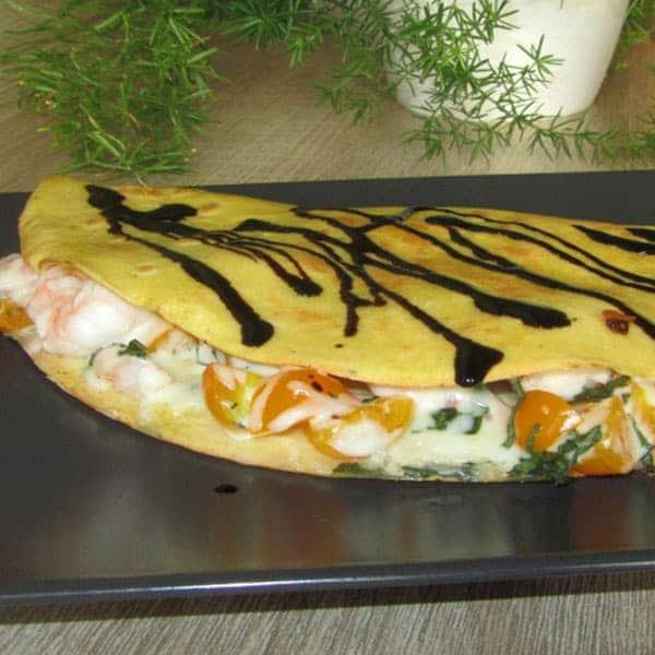 Pildīta pankūka ar garnelēm un sieru