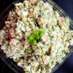 Gaļas salāti ar zaļajiem lociņiem