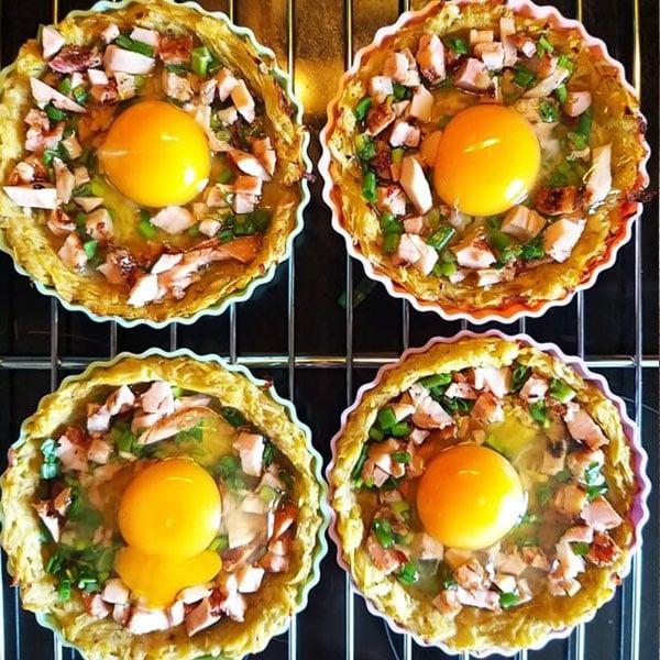 Kartupeļu tartes ar vistas girosu un olu