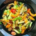 Siltie dārzeņu salāti ar baklažānu